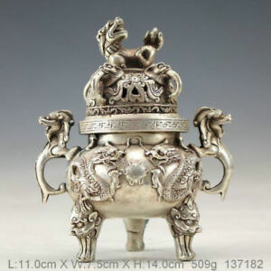 Chinese Old Hand Made Dragon Statues Tibet Silver Incense Burner