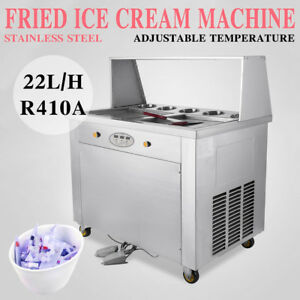 110v Set Temperature Double Pan Fried Ice Cream Maker Roll Ice Cream Machine