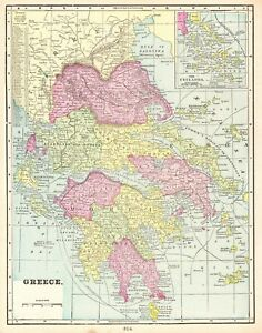 1900 Antique Greece Map Vintage Collectible Map Of Greece Gallery Wall Art 5570