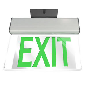 Etop Lighting Led Edge lit Rotatable Exit Sign With Battery Backup Green