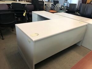 Left Hand L shape Desk By Hon Office Furn W Gray Color Lamin Top