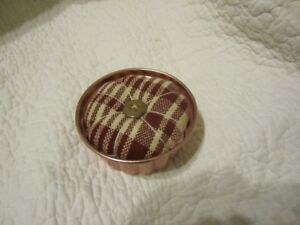 Primitive Pin Cushion Pin Keep Barn Red Coverlet Copper Mold 12
