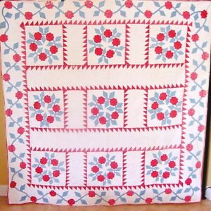 Patriotic Antique Red White And Blue Pre Civil War Rose Wreath Quilt C1865
