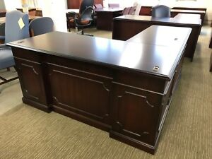 Traditional Style Executive L shape Desk By Kimball Office Furniture