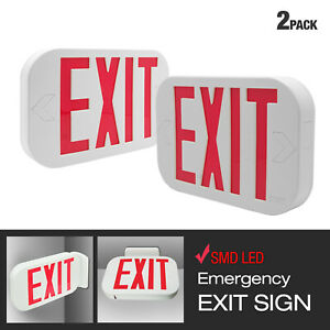 Etoplighting 2 Pack Red Letter Led Exit Emergency Sign Light W Battery Back up