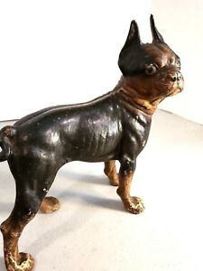 Antique Cast Iron Boston Terrier Bulldog Door Stop Original Paint Great Look