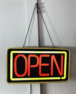 Vintage Open Neon Lighted Business Hanging Sign 24 By 13