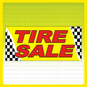 Tire Sale Vinyl Banner Tires Sign Checkered 3x10 Ft Yb