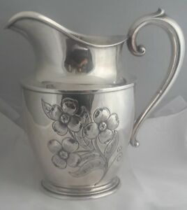 C1910 Art Nouveau Wallace Sterling Silver Repousse Hand Chased Water Pitcher