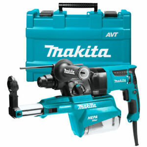 New Makita Hr2651 1 Sds plus Pistol grip Rotary Hammer Kit W Dust Extractor