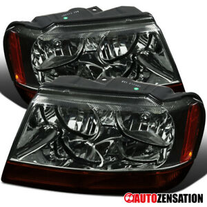 99 04 Jeep Grand Cherokee Smoke Headlights Pair W Amber Turn Signal Lamps L R