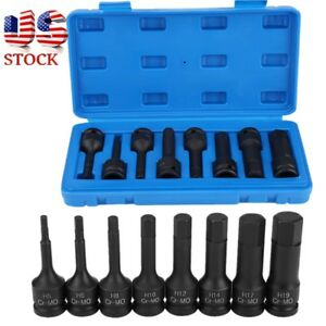 1 2 Inch Drive Metric Hex Allen Bit Socket Set Cr Mo 8 Pc Impact Drivers Sturdy