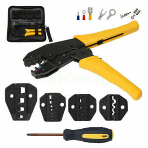 Insulated Terminals Ferrules Crimping Plier Ratcheting Crimper Tool 5 Dies Set A