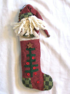 Grubby Primitive Santa Claus Christmas Doll In Long Prim Tree Stocking Lg 17