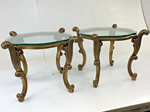 Vintage Gold Side Table Pair End Mid Century Hollywood Regency French Ornate 2