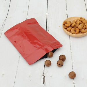 Double Sided Glossy Red Zip Lock Storage Bags Different Qty 13x18cm 5 1x7 1in