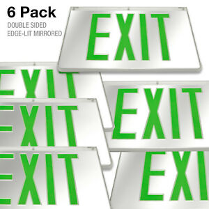 6pcs Mirrored Green Led Exit Sign Indoor Emergency Fixtures Fire Lights Panel