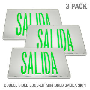 3pack Led Mirrored Green Exit Sign Indoor Emergency Fixtures Fire Lights Panel
