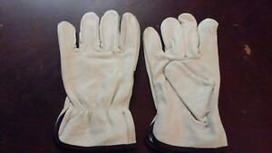 12 Pairs Leather Work Gloves Large Genuine Cowhide Drivers