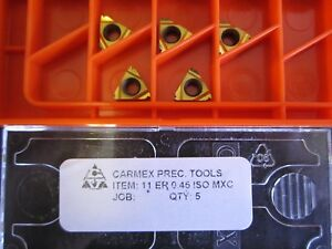 Lot Of 5 Carmex Precision Tool Carbide Inserts 11 Er 0 45 Iso Mxc New