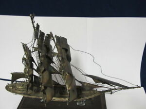 Mexico Sterling Silver Large Sailing Ship Model 11 Wood Mount