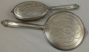Vintage Gorham Sterling Silver 90 F1s Hand Mirror Hair Brush With Engraving