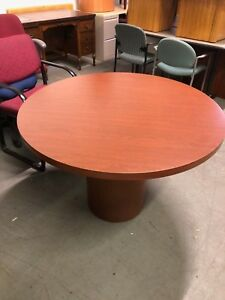42 Round Conference Table By Kimball Office Furniture In Cherry Finish Laminate