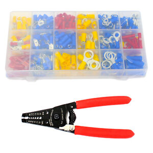 6 Crimping Stripping Tool 360 Pcs Wire Terminal Assortment Set Wiring Bullet