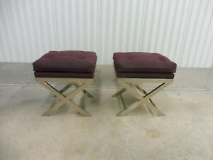 Pair Of Stunning 70 S X Stretcher Chromed Steel Benches