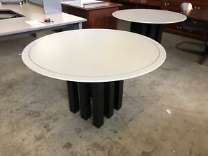 48 d X 29 h Contemporary Style Round Table In Gary Unique Black Metal Base