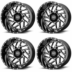 Set 4 20 Moto Metal Mo985 Breakout Black Machined Rims 20x10 6x5 5 18mm Lifted