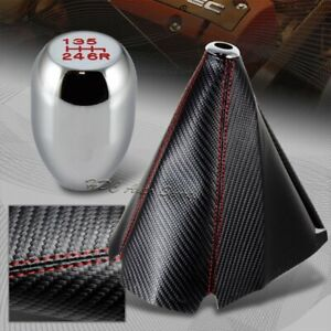 Carbon Red Stitch Manual Shift Boot T R Chrome 6 Speed Shifter Knob Universal 1