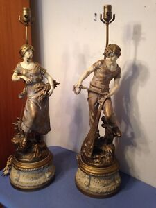 Huge Pair Of L F Moreau Figural Statue Lamps Made In France