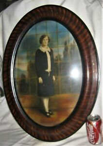 Antique Folk Art Wood Glass Art Photo Picture Frame Victorian Home Lady Window