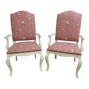 Pair Ethan Allen Country French Dining Room Arm Lounge Chairs