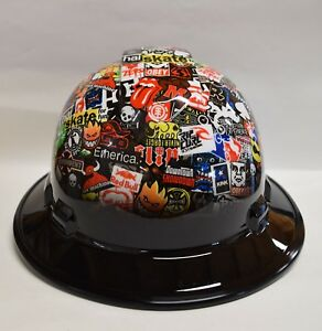 Custom Ridgeline Widebrim Hard Hat Hydro Dipped Black Brim Skate Sticker Bomb