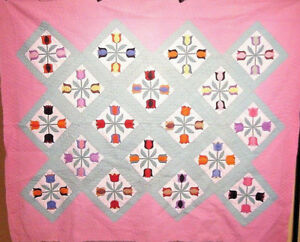 Bold Antique Tulip Applique Quilt Hand Applied Hand Quilted