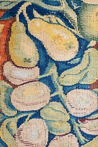 Superb 17th 18th C Antique French Tapestry Fruit Fragment Textile
