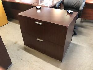 2 Drawer Lateral Size File Cabinet By National Office Furn In Mahogany Laminate