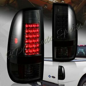 For 1999 2007 Ford F250 Super Duty Styleside Smoke Housing Led Tail Lights Lamps