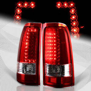 For 1999 2006 Gmc Sierra 1500 2500 3500 C Style Led Red Clear Tail Lights Lamps