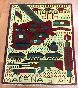 Afghan War Rug Hand Knotted From Afghanistan Size 2 X 2 5 Shipped From Us