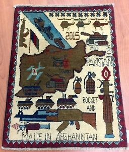 Afghan War Rug Hand Knotted From Afghanistan Size 1 10 X 2 5 U S Shipping
