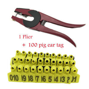 Pig Ear Tag Plier Poultrygoat Hog Cattle Cow Applicator Puncher Tagger 100 Set