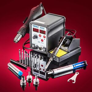 Genuine Yihua 898d Hot Air Rework Soldering Iron Station With 10 Solder Tips