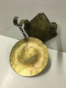 Hand Made Hammered Brass Wall Mount Gong Chime Arts Crafts Deco C1920s