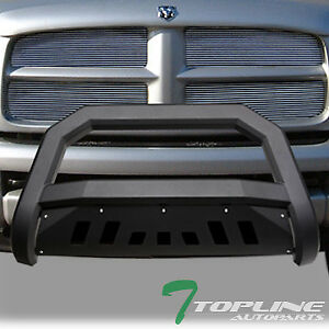 Topline For 2002 2009 Dodge Ram Avt Bull Bar Bumper Grille Guard Matte Black