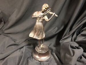 Bronze Sculpture Girl Playing The Violin By The Italian Fonderia Lancini