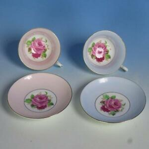 Rosina Bone China Cabbage Rose Floral 2 Tea Cups And Saucers Blue And Pink