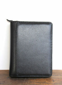 Franklin Quest Black Leather Business Organizer Binder Planner 6x1 5 r Sz9 x6 7